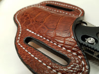 Ostrich Leg skin Large Knife Sheath Cognac color