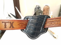 Alligator Belly Skin Small knife Sheath Dark Turquoise Color