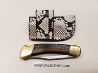 Buck 110 Knife Python Skin Side Draw Sheath