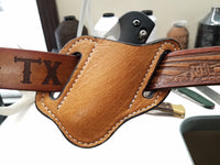Ostrich Smooth Skin Large Sheath- Cognac