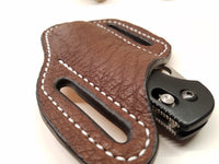 Ostrich Smooth Skin Large Sheath- Chocolate