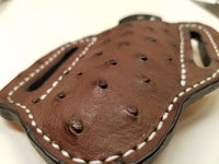 Ostrich Skin Large Sheath-Chocolate