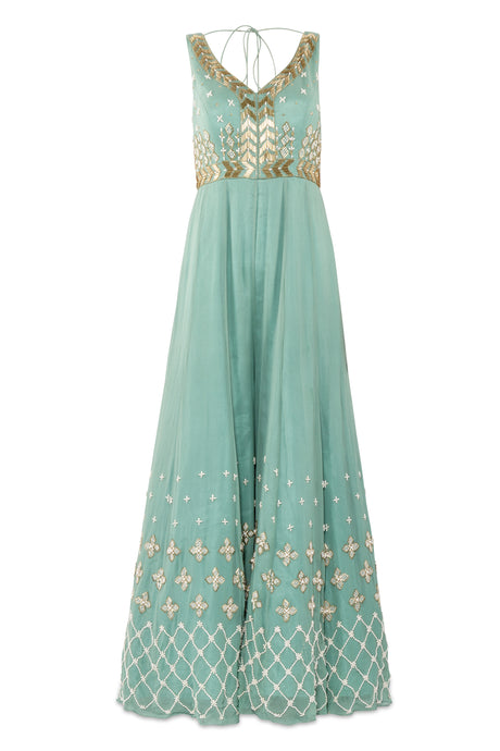 Salt and Spring Embellished Pastel Green Jumpsuit