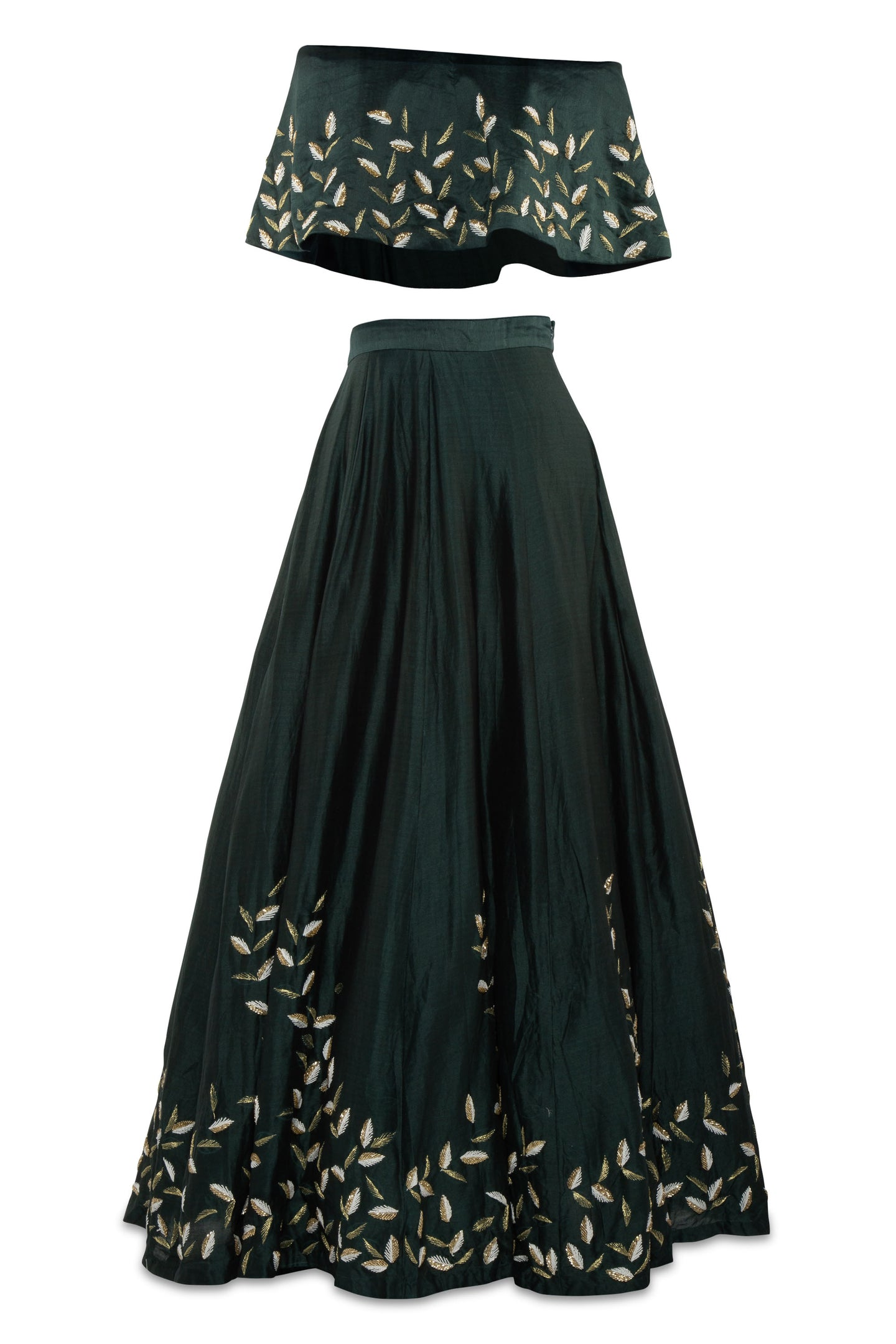 Salt and Spring by Sonam Green Embroidered Lehenga