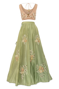 Salt and Spring by Sonam Jain Pink and Green Embellished Lehenga