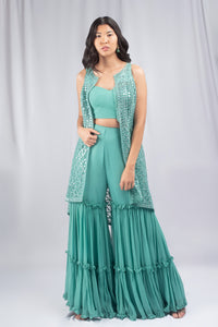 Mohini Blue Colored Fusion Set