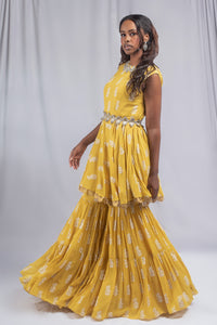 Bhumika Sharma Yellow Colored Fusion Set