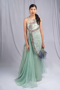 Agami by Neha Agarwal Mint Green Colored Fusion Set