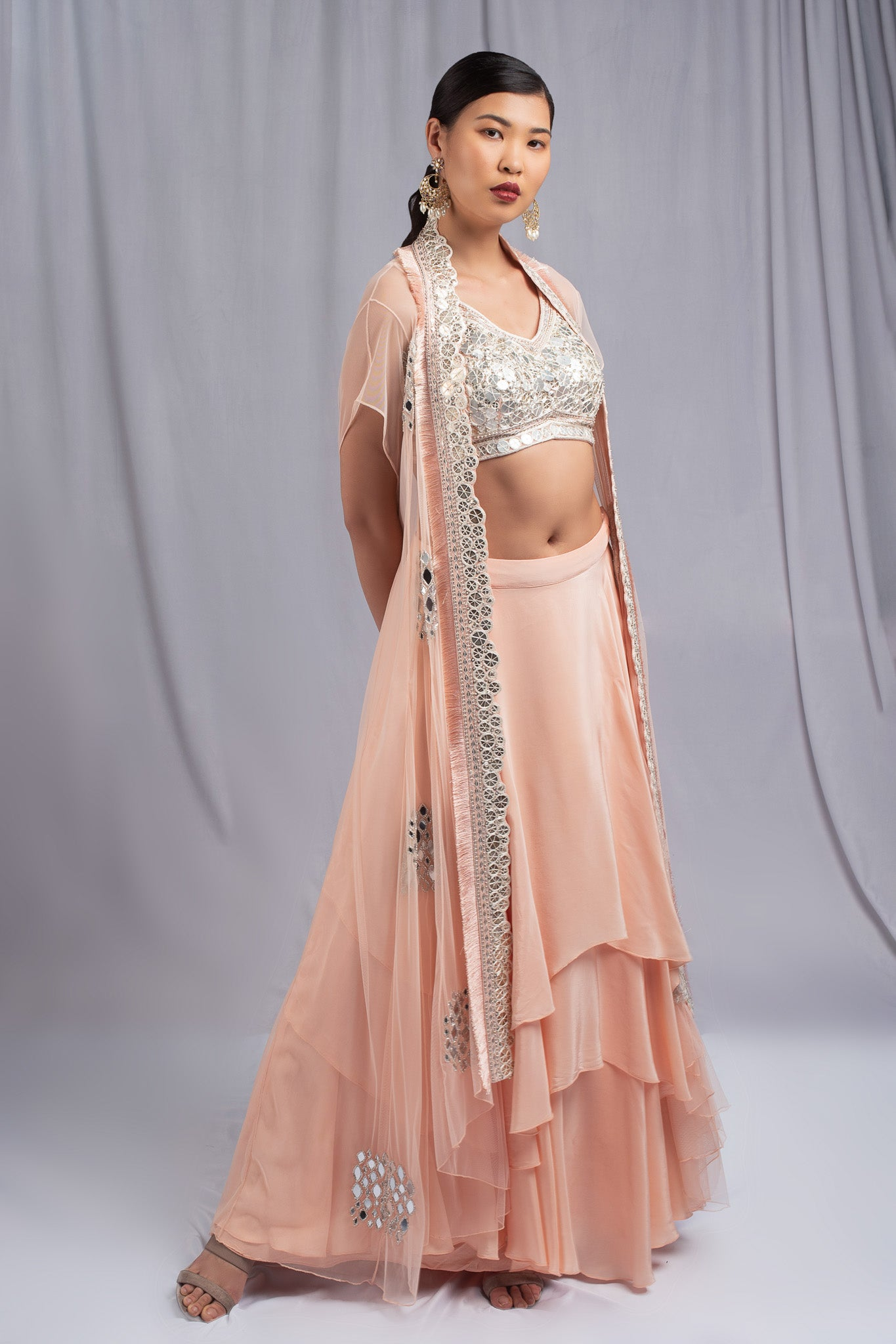 Ritika Mirchandani Coral Colored Fusion Set