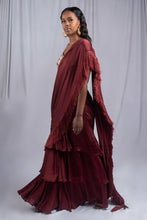 Load image into Gallery viewer, Bhumika Sharma Burgundy Fringe Sari