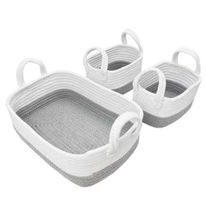Living Textiles 3pc Rope Storage Set - Grey/White