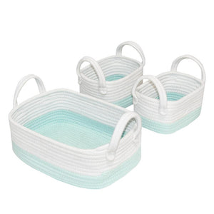 Living Textiles 3pc Rope Storage Set - Aqua/White