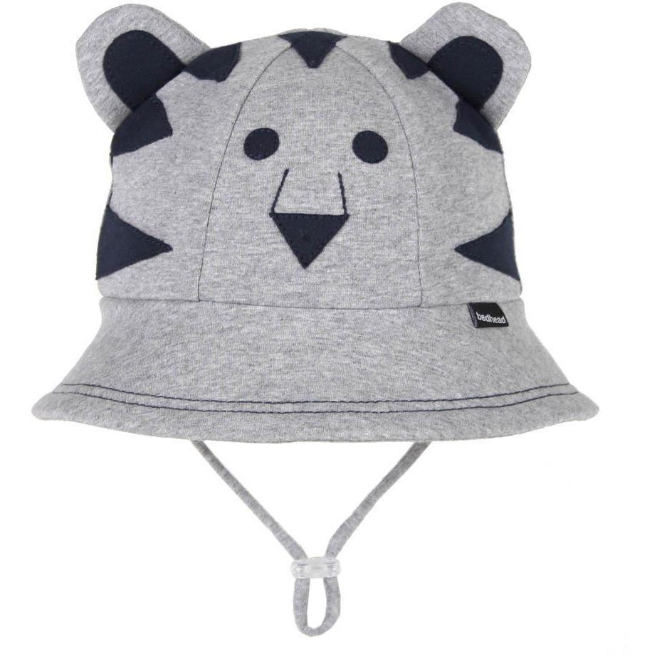 Bedhead Lil' Tiger Baby Bucket Hat with Strap - Grey Marle