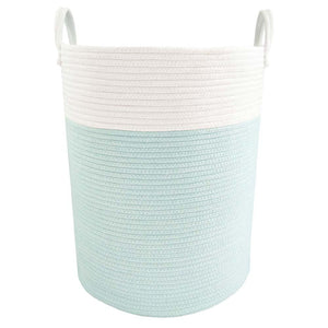 Living Textiles Cotton Rope Hamper - Aqua/White