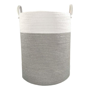 Living Textiles Cotton Rope Hamper - Grey/White