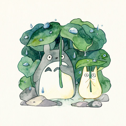 Under the Rain with Totoro & Mini Totoro Candle Painting