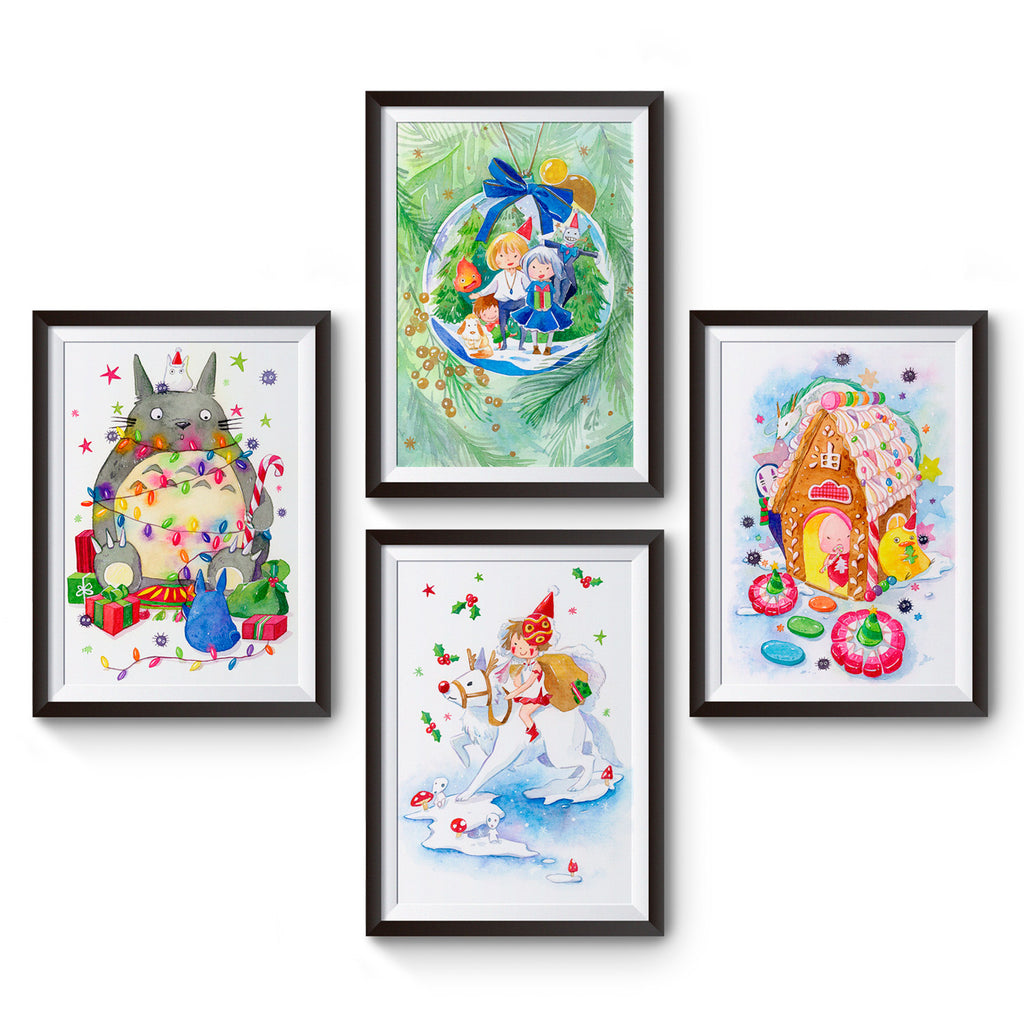 Set of 4 Studio Ghibli Christmas Art