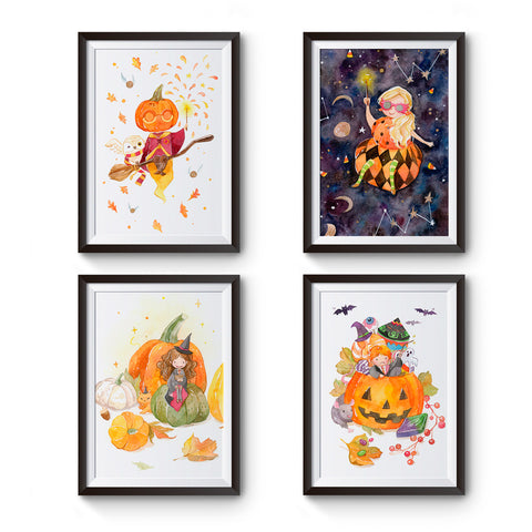 Set of 4 Harry Potter Halloween Special Watercolor Art 5x7 prints