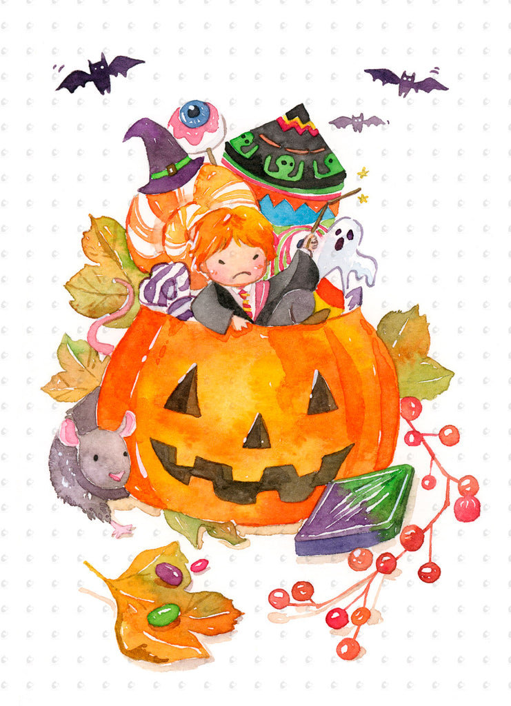 Set of 4 Harry Potter Halloween Special Watercolor Art 5x7 prints ...