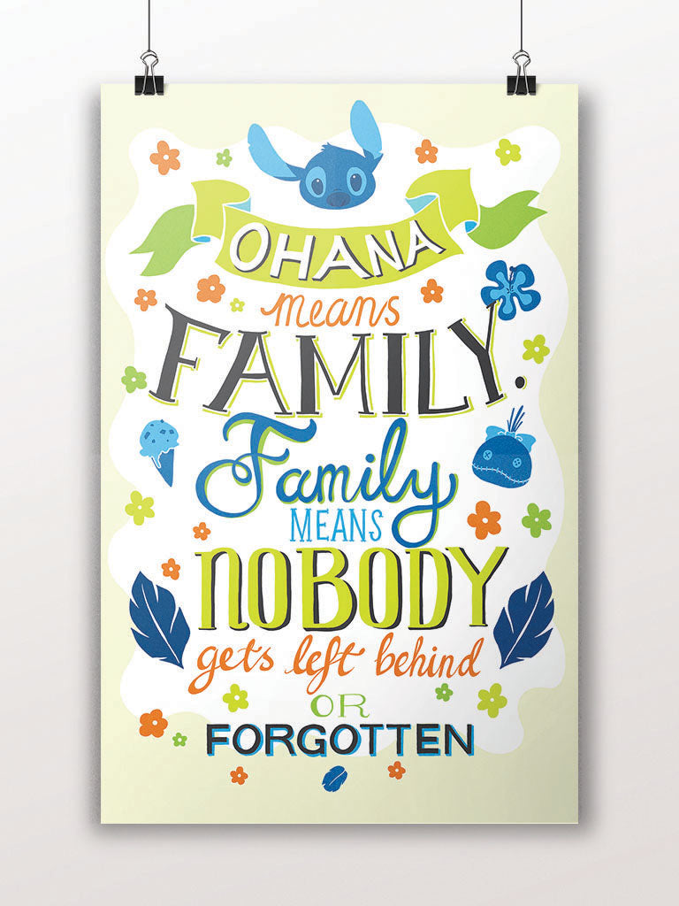 Stitch Ohana Quote Poster