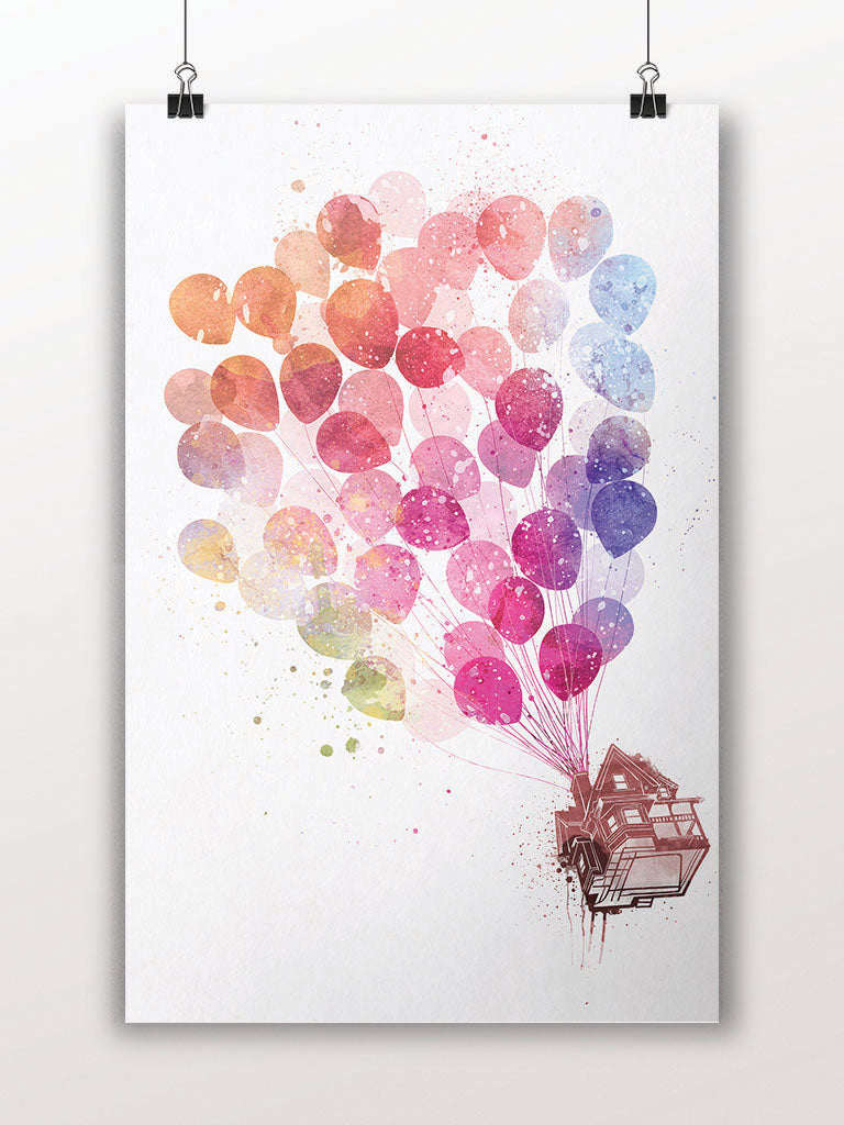 Up the Flying House with Balloons Poster