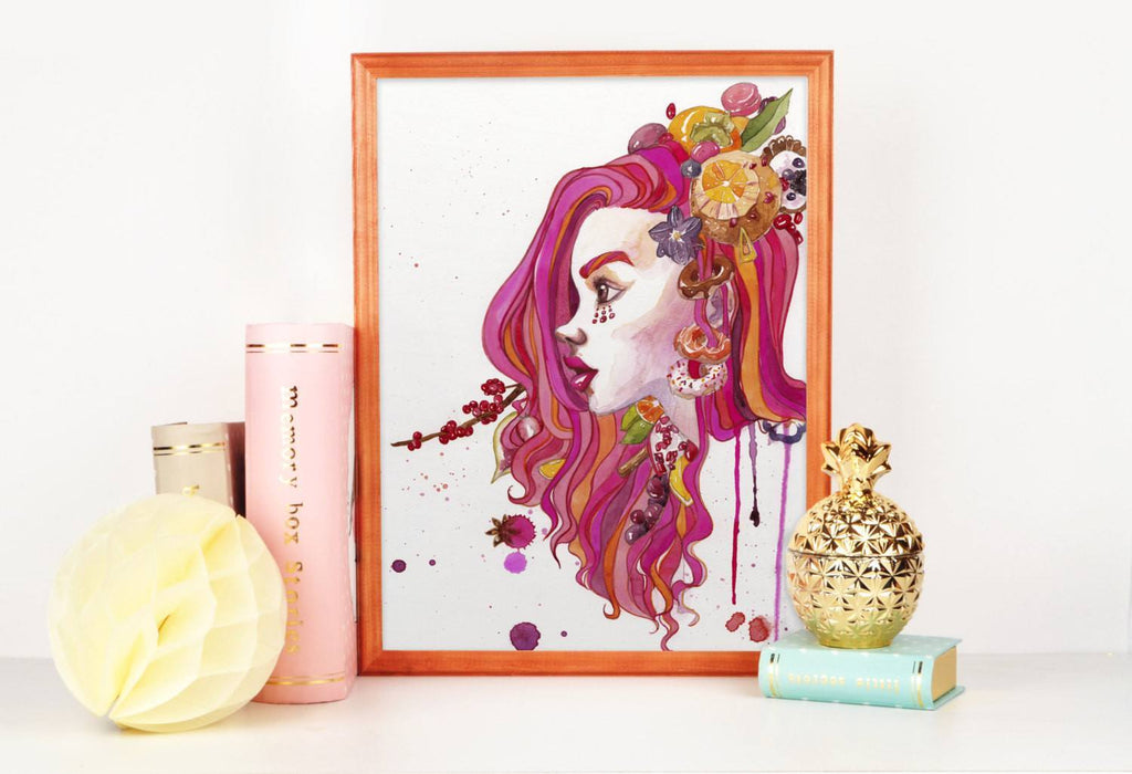 PenelopeLovePrints Pink Girl Portrait Watercolor Art Print prints - 1