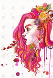 PenelopeLovePrints Pink Girl Portrait Watercolor Art Print prints - 2