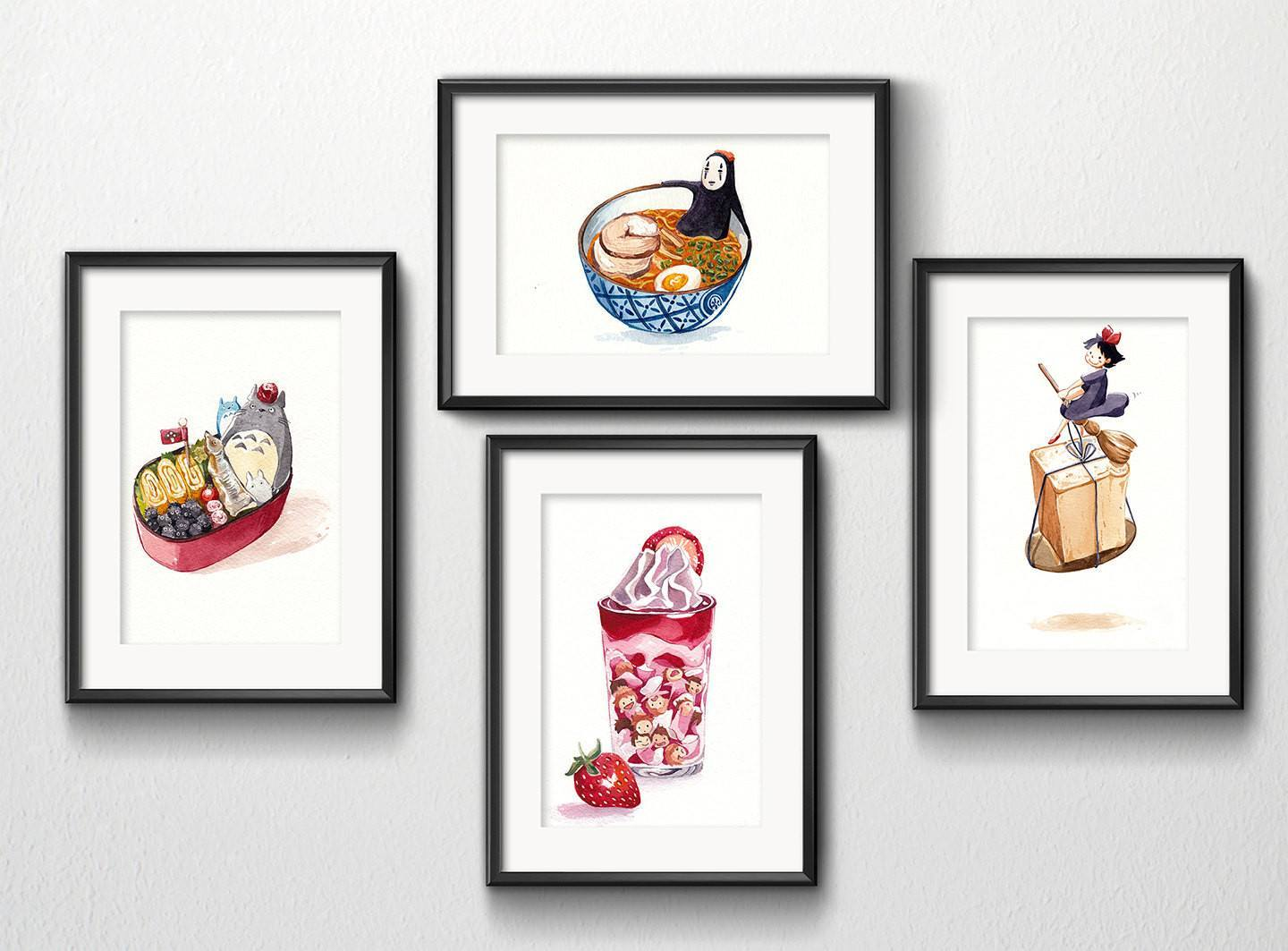 PenelopeLovePrints Set Of 4 Studio Ghibli Watercolor Kitchen Art 5x7 Prints  Prints   1