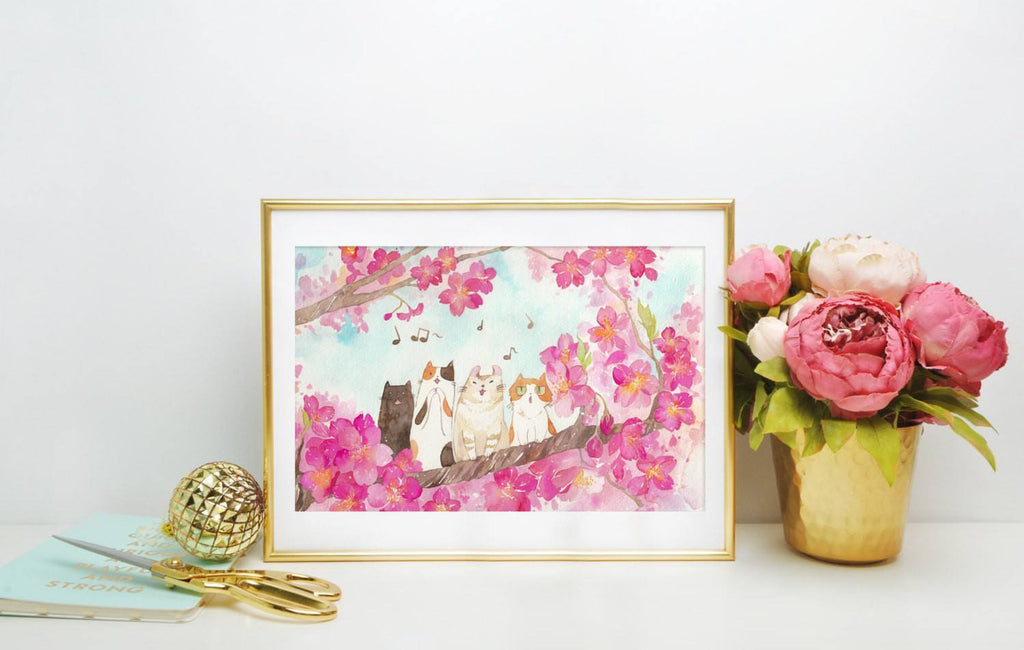 PenelopeLovePrints Watercolor Sakura La Cat Ensemble 13x19 Art Print prints - 1