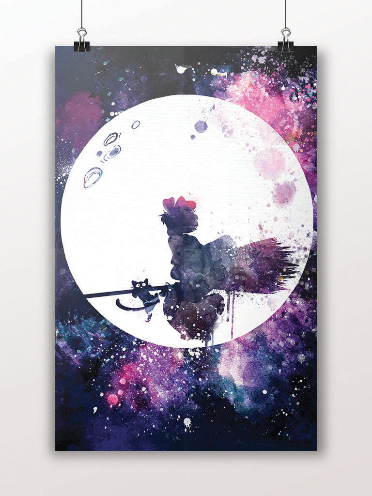 Kiki Flying Over Moon Poster