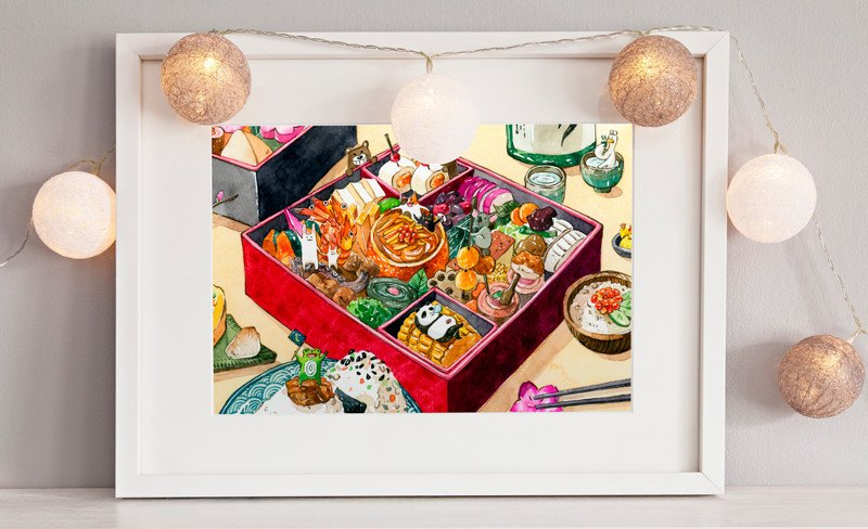 Osechi Japanese New Year Bento Poster