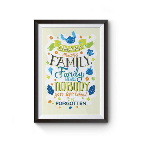 PenelopeLovePrints Stitch Ohana Quote Poster prints - 1