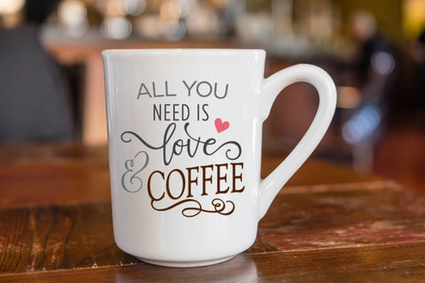 All You Need Is Love and Coffee - cute coffee mugs - custom coffee cups - decorated coffee cup - coffee mug - CreativeStudio805