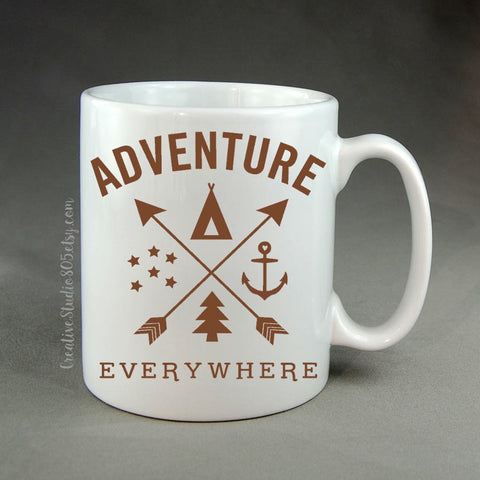 Adventure Everywhere - coffee mug - unique coffee mug - personalized coffee mug - girly mug - love coffee mug - inspiring quote - CreativeStudio805