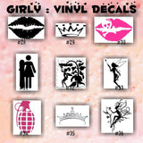 GIRLY vinyl decals - 10-18 - car window sticker - lips sticker - hearts decals - wall sticker - personalized stickers - custom vinyl decal