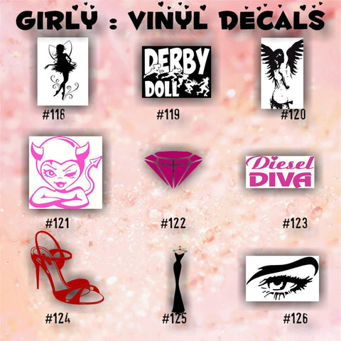 GIRLY vinyl decals - 118-126 - car sticker - girly stickers - fairy vinyl decal - girly skull sticker - custom vinyl decals