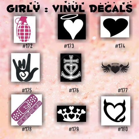 GIRLY vinyl decals - 172-180 - car decal - girly stickers - fairy car decal - hearts sticker - car sticker - custom vinyl decal