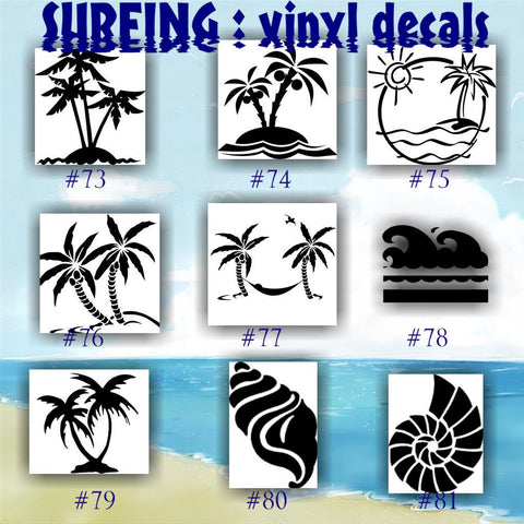 SURFING vinyl decals - 73-81 - palm tree sticker - tropical stickers - surfboard decals - car window stickers