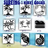 SURFING vinyl decals - 100-111 - palm tree sticker - tropical stickers - surfboard decals - car window stickers