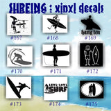SURFING vinyl decals - 176-184 - vinyl stickers - car window decal - personalized stickers - surfer - surfer girl - car decals