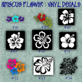 HIBISCUS FLOWER vinyl decals - 37-45 - car window stickers - girly stickers - vinyl stickers - wall decals - personalized vinyl sticker