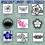 HIBISCUS FLOWER vinyl decals - 113-121 - car window stickers - custom vinyl decals - vinyl sticker - wall decal