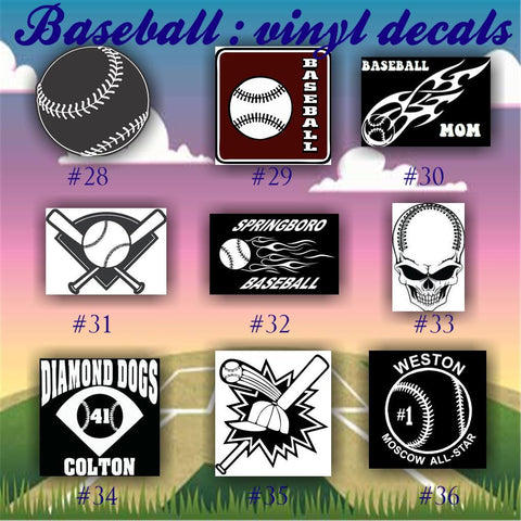 BASEBALL vinyl decals - 28-36 - vinyl sticker - car window sticker - custom vinyl decal - personalized baseball sticker - CreativeStudio805