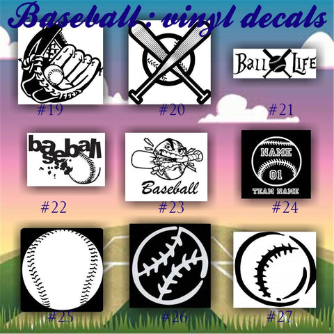 BASEBALL vinyl decals - 19-27 - vinyl sticker - car window sticker - custom vinyl decal - personalized baseball sticker - CreativeStudio805