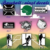 BASEBALL vinyl decals - 64-72 - car window stickers - team sports decals - custom viny stickers - CreativeStudio805