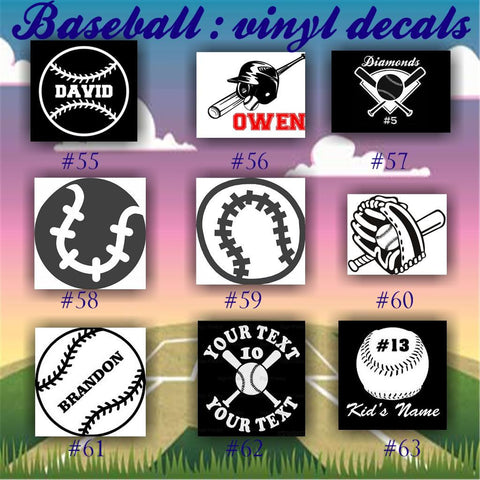 BASEBALL vinyl decals - 55-63 - car window stickers - team sports decals - custom viny stickers - CreativeStudio805