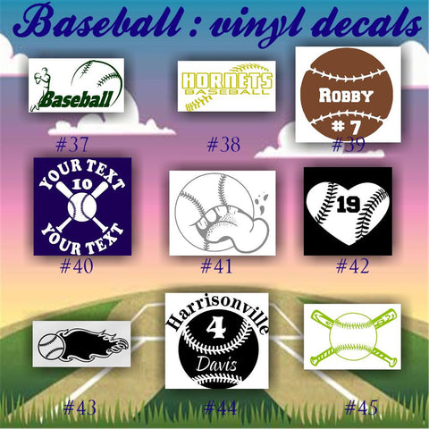 BASEBALL vinyl decals - 37-45 - car window stickers - team sports decals - custom viny stickers - CreativeStudio805