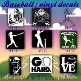 BASEBALL vinyl decals - 140-148 - vinyl sticker - custom baseball sticker - personalized vinyl decal - car window sticker  - car decal - CreativeStudio805