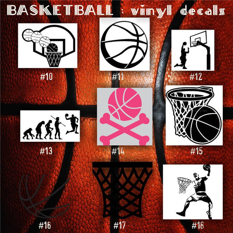 BASKETBALL vinyl decals - 10-18 - bball stickers - hoops car decal - custom window decal - personalized sticker - CreativeStudio805