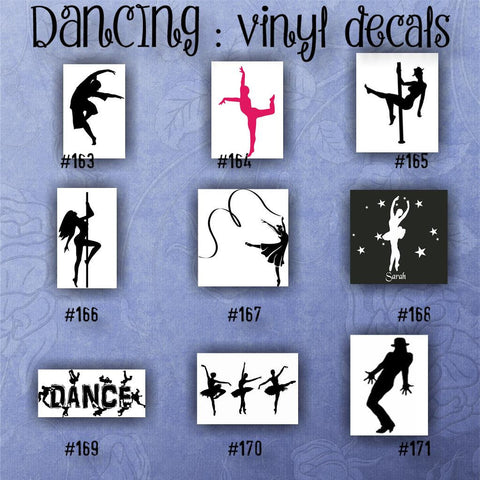 DANCING vinyl decals - 163-171 - car sticker - dancer vinyl stickers - dance car decal